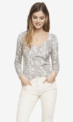 snake print rhinestone fitted v-neck sweater from EXPRESS