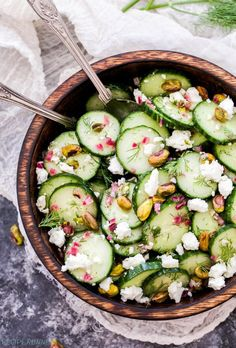 Cucumber, Dill, Feta and Pistachio Salad