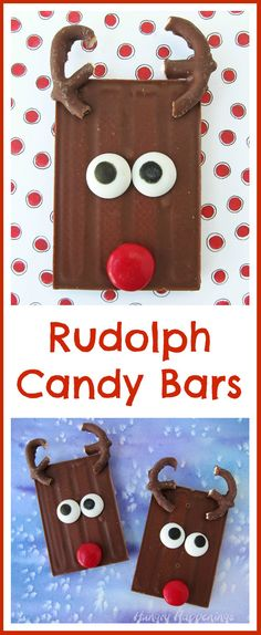 Turn store bought candy bars into Cute Christmas Treats in a snap. Just add two chocolate pretzel antlers, some candy eyes, and a shiny red nose and you have the sweetest Rudolph Candy Bars to give to friends and family this holiday season. Christmas Food Treats, Xmas Food, Christmas Candy, Christmas Desserts, Holiday Treats, Christmas Baking, Christmas Cookies, Holiday Fun, Party Treats