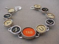 Typewriter Key Jewelry Bracelet  FANTABULOUS  by magiccloset, $42.00