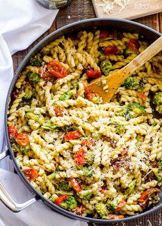 Pasta With Pesto, Grape Tomatoes, & Parmesan