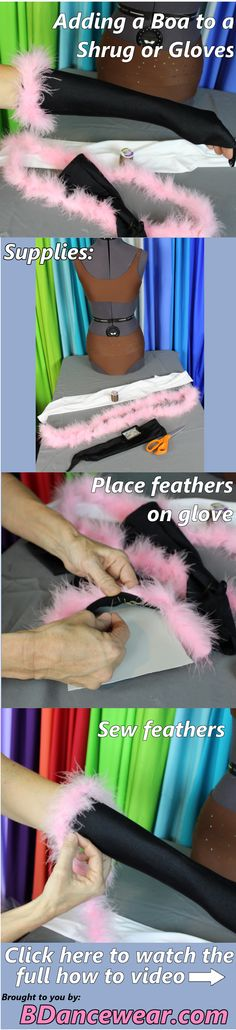 Adding a boa to a shrug or gloves for a DIY dance costume.