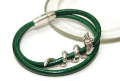 Green leather bracelet Spain leather wrap by LuckyBeadsBox on Etsy