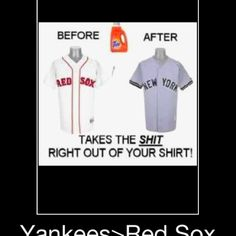 Absolutely perfect, if my hubby ever brings home anything Red Sox I now know how to clean it up! Yankee Love!