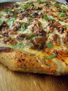 Mexican Chorizo White Pizza with  a Beer Dough Crust #kingarthurflour #cabotcheese #modelobeer