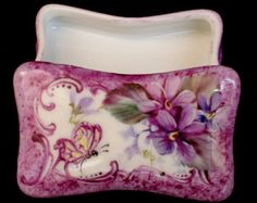 Signed Hand Painted Floral Violet Design with Butterfly Victorian Styling - Porcelain China Ring Jewelry Trinket Box - Can be personalized $23.00 + $5.59 shipping