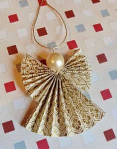 Origami Christmas Angel Decoration in Cream and Gold £2.00