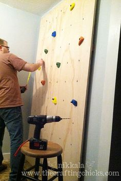 Check out this post to learn how to make an indoor climbing wall. | 31 Ways To Make Your House A Kid's Paradise