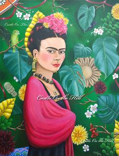 Frida Kahlo  Original 14 x 18 painting by CastleOnTheHill on Etsy, $2200.00