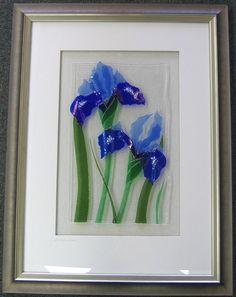 Blue Iris - fused glass original X Fused Glass Bowl, Fused Glass Ornaments, Fused Glass Jewelry, Dichroic Glass, Broken Glass Art, Shattered Glass, Mosaic Birdbath, Mosaic Glass, Diy Galaxy Jar