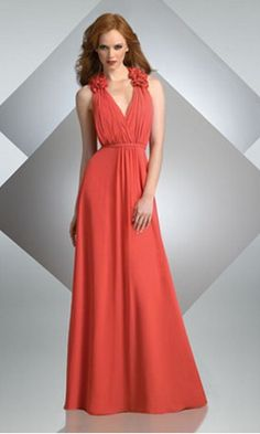 Long V-neck Sleeveless Orange Satin Bridesmaid Dress NDNB218 [NDNB218] - $135.60 : Cheap Bridesmaid Dresses, Bridesmaids Dresses on Sale