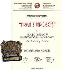 Wyróżnienie Firma z Jakością przyznane przez Polsko-Szwajcarskie Centrum Przedsiębiorczości
