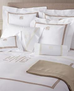 Monogram luxury bed linens and luxury sheets with a classic 3 line embroidered design from Matouk that may also be monogrammed. Luxury Sheets, Luxury Bedding Sets, Luxury Bed Linens, Monogram Bedding, Style Cottage, Linens And Lace, Fine Linens, Cool Beds, Beautiful Bedrooms
