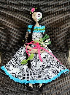Day of the Dead Art Doll by Sylvia Smiser of Anaboo Creations