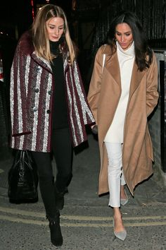 Olivia Palermo with Meghan Markle out in London - January 2018 Estilo Meghan Markle, Meghan Markle Stil, Meghan Markle Coat, Meghan Markle Blog, Olivia Palermo Stil, Olivia Palermo Lookbook, Fall Outfits, Casual Outfits, Fashion Outfits