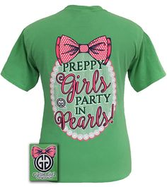Girlie Girl Originals Preppy Girls Party in Pearls Bow Comfort Colors T-shirt