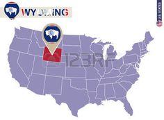 Estado de Wyoming en EE.UU. mapa. bandera de Wyoming y el mapa. Estados Unidos.