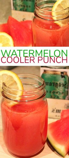 Refreshing Watermelon Cooler Punch Cocktail with Seagram's Ginger Ale Ginger Ale Punch, Ginger Ale Drinks, Ginger Ale Cocktail, Watermelon Vodka Drinks, Watermelon Punch, Watermelon Cooler, Alcohol Drink Recipes, Punch Recipes, Slushies