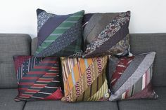 Upcycling ideas from old clothes - real ties stylish and creative recycling - decoration house - Cushions Old Neck Ties, Old Ties, Mens Ties Crafts, Tie Crafts, Old Clothes, Clothes Crafts, Necktie Quilt, Necktie Purse, Tie Pillows