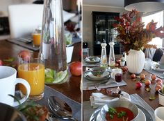 Table setting autumn. Nature, fruit, orange, grey, white, brown. anettewillemine.com
