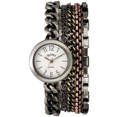 Decree® Multi-Chain Bracelet Watch Silvertone ($20) ❤ liked on Polyvore