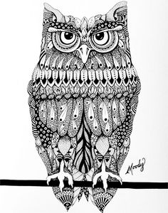 """Owl"" by featured artist Monica Moody. See more of her detailed doodlings in pen and alcohol inks on www.ArtsyShark.com"