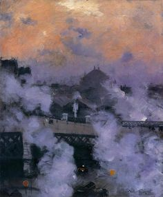 poboh:    The Pont de l'Europe at Night, 1887, Norbert Goeneutte. French (1854 - 1894)