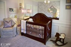 Project Nursery - Mirrored Wall with Wood Paneling Above Crib
