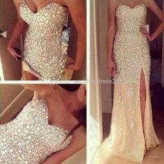 Wholesale Beaded Prom Dresses - Buy Sparkly Sweetheart Neckline Sleeveless Fully Beaded/Rhinestone Tulle Fabric Mermaid Prom Dresses Low Zipper Back $249.0   DHgate