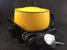 Vintage West Bend Electric Fondue Pot 2 Quart # 5398 Yellow Enamel Cheese Meat + #WestBend
