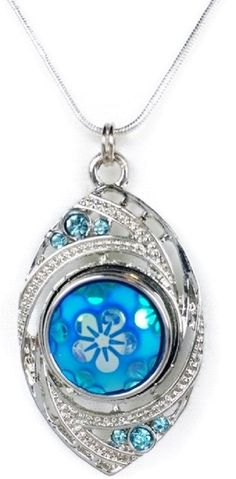 Silver tone interchangeable snap pendant with silver plated snake chain and one snap. Featuring blue rhinestones and a beautiful irridescent blue flower snap charm. Chain with lobster clasp closure me