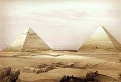 Pyramids of Geezeh by David Roberts, R.A.  Lithograph from Eygpt and Nubia, 1842.