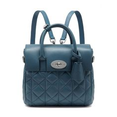 Mini Cara Delevingne Bag in Steel Blue Quilted Nappa  Mulberry
