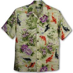 Cowichan Family | Rakuten Global Market: Hawaiian shirt | Kamehameha (KAMEHAMEHA )|) kam-h carp (koi )| Green | 100% of rayon poplin (Rayon Poplin100 %)|) Open collar (open collar )|) Full opening | Short-sleeved | Aloha Shirt