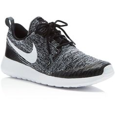 Nike Women's Roshe One Flyknit Sneakers (1 670 ZAR) ❤ liked on Polyvore featuring shoes, sneakers, shoes sneakers, black, flyknit trainer, black trainers, nike footwear, black shoes and black sneakers