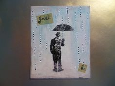 Just be - Man in waiting in the rain craft card making