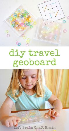 Make this travel geoboard out of an old CD case for fun STEM learning on the road. Love the idea, but I would have to buy a glue gun. Stem Activities, Toddler Activities, Travel Activities, Stem Learning, Kids Learning, Cd Case Crafts, Brain Craft, Cd Cases, Fun Math
