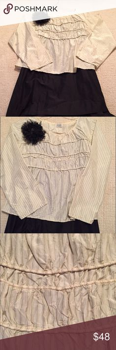 Krista Larson Silk Shirt Krista Larson adorable Megan shirt in silk taffeta. Pleating on the bodice with back ties. Ivory silk with tiny black pinstripe. One size fits 4 to 14. Fabric flower pin sold separately. Krista Larson Tops