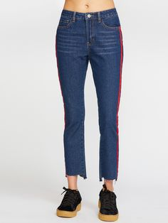 Online shopping for Side Panel Stripe Asymmetric Raw Hem Jeans from a great  selection of women s 2430fa978726
