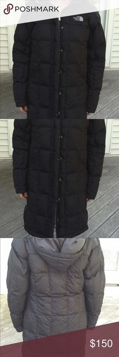 "North Face Long Coat Great condition . Length is 33""  under the arms across laying flat is 19""  Hood is detachable North Face Jackets & Coats Puffers"
