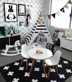 Monochrome Kids Playroom Inspiration