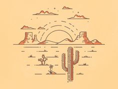 Desert Scene designed by brian hurst. Desert Drawing, Desert Tattoo, Country Backgrounds, Southwestern Art, Dibujos Cute, Cowboy Art, Line Drawing, Wall Collage, Aesthetic Wallpapers