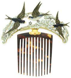 Enamel, tortoiseshell, diamond, bluebird, hair comb, Art Nouveau, birds, flying, clouds, stars, sky, hair ornament, Lucien Gaillard,