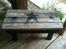 Primitive porch bench barn wood stars country rustic decor