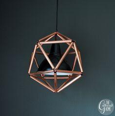 DIY Copper Pipe Icosahedron Pendant Light | www.thegatheredhome.com #tutorial #geometric