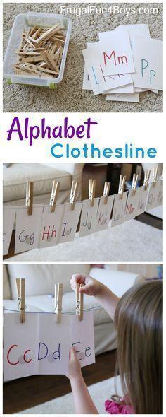 Alphabet Clothesline! Preschool Alphabet Activity - Frugal Fun For Boys and Girls