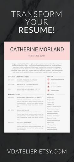 Nurse Resume Template for Word   Doctor Resume Template   Medical     Use our resume template to secure your new job   nurse  resume