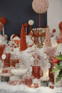 Christmas candy bar with handmade candy topiary trees!