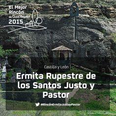 Este templo excavado en la pura roca, en una pedanía de Aguilar de Campoo, es la joya más rara del románico norte palentino. Por sus grandes dimensiones y su perfecto estado de conservación, se le conoce como la catedral de la arquitectura rupestre. Apoya al #RincónErmitaJustoyPastor
