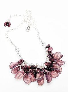 Purple Beaded Necklace Bib Necklace Glass by CherylParrottJewelry